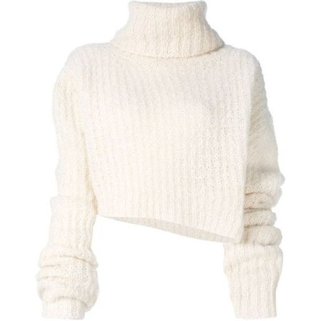 white cropped turtleneck