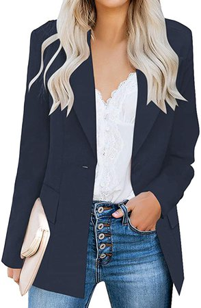 luvamia Women's Long Blazer Jacket Casual Notched Lapel One Button Work Office Blazer Jacket Suit Navy Blue Size Large (Fits US 12-14) at Amazon Women's Clothing store