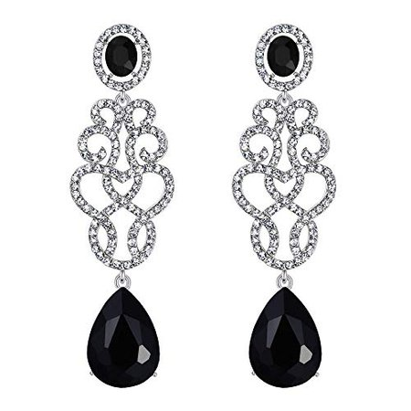 Amazon.com: BriLove Wedding Bridal Dangle Earrings for Women Crystal Floral Filigree Teardrop Chandelier Earrings Black Silver-Tone: Jewelry