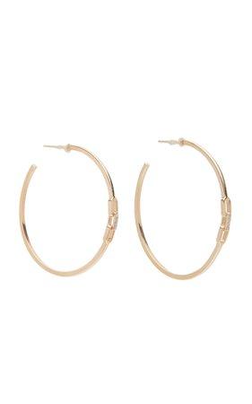 Sophie Ratner 14K Gold Diamond Hoop Earrings