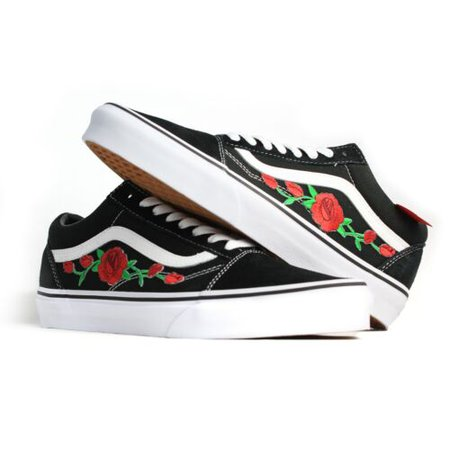 Vans Black Old Skool Red Rose Custom Handmade Shoes By Patch Collection | eBay