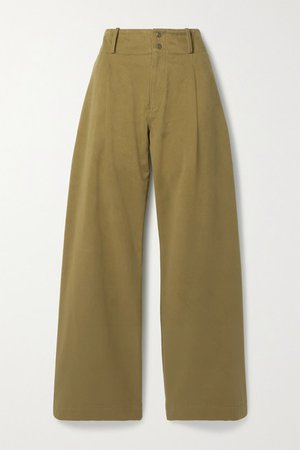 The Argonite Pleated Cotton-twill Wide-leg Pants - Army green