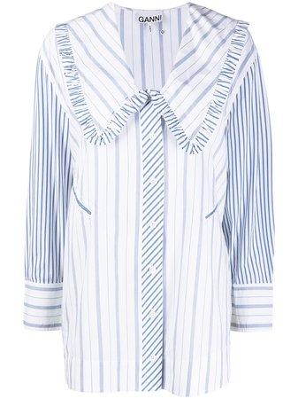 GANNI Oversize Collar Striped Blouse - Farfetch