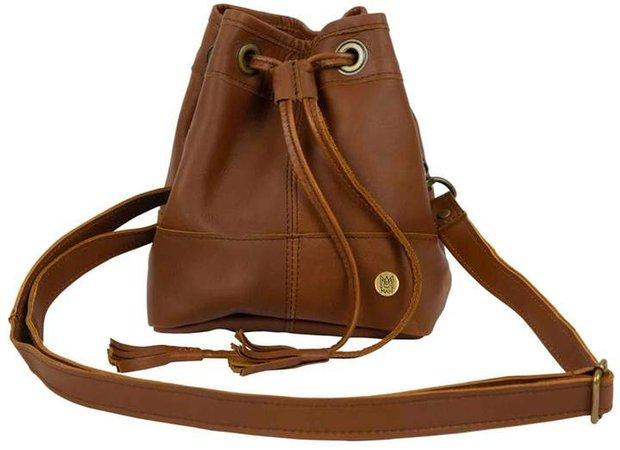MAHI Leather - Mini Bucket Drawstring Bag In Vintage Brown Leather