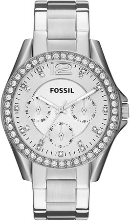 Fossil Women's Riley Quartz Stainless Steel Chronograph Watch, Color: Silver (Model: ES3202): Fossil: Watches