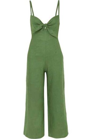 Faithfull The Brand | Presley cropped tie-front linen jumpsuit | NET-A-PORTER.COM