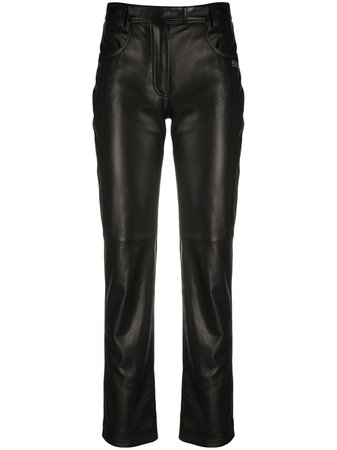 Off-White Straight Leg Leather Trousers - Farfetch