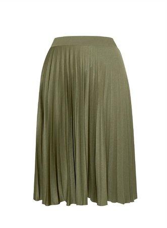 **DP Curve Khaki Pleat Midi Skirt