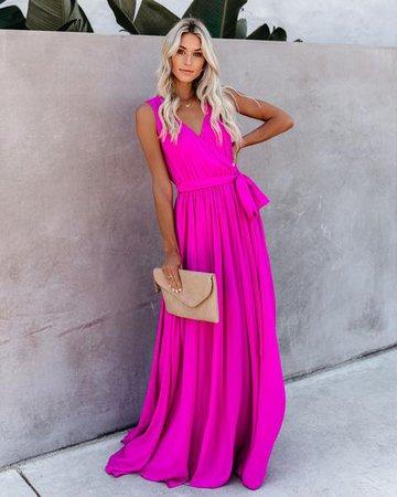 Diana Sleeveless Maxi Dress - Fuchsia – VICI