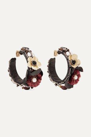 Black Gold-tone, canvas, silk and raffia multi-stone hoop earrings | Ranjana Khan | NET-A-PORTER