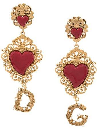 Dolce & Gabbana Logo Heart Earrings - Farfetch