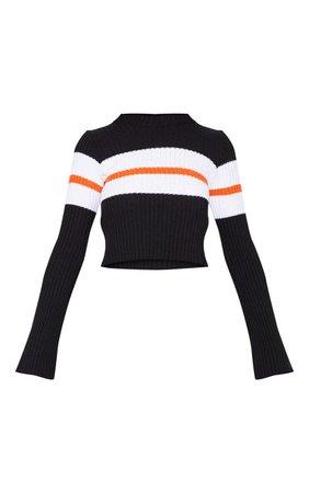 Black Striped Flared Sleeve Jumper | PrettyLittleThing