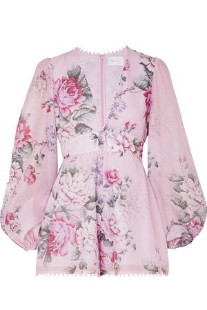 alice McCALL | One By One floral-print cotton and silk-blend playsuit | NET-A-PORTER.COM