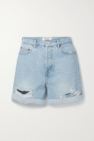 Max Distressed Organic Denim Shorts - Light blue
