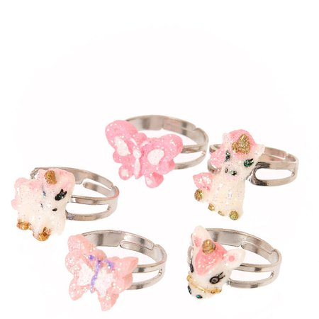 Kids 5 Pack Butterflies & Unicorns Glitter Rings | Claire's US