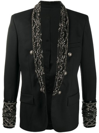 Black Balmain embroidery double-breasted blazer - Farfetch