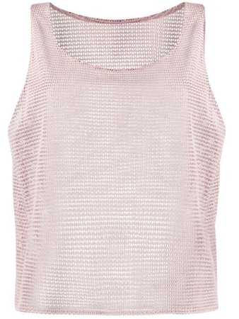 Forte Dei Marmi Couture Leather Mesh Vest Top 20SF5265 Pink | Farfetch