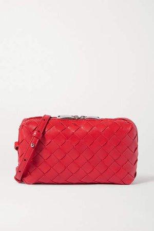 Small Intrecciato Leather Shoulder Bag - Red