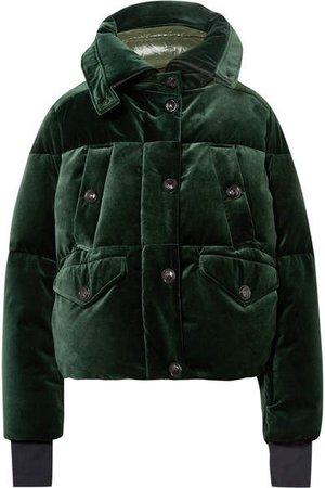 Loye Quilted Velvet Down Jacket - Dark green