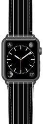 Black Stripe Saffiano Faux Leather Apple Watch(R) Strap