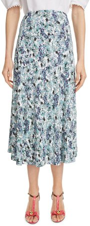 Floral Print Fluted A-Line Midi Skirt