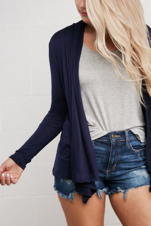Nikki Basic Cardigan in Navy