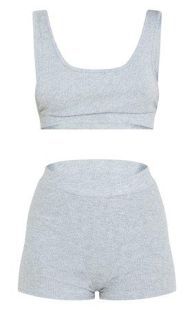 Grey Brushed Rib Low Armhole Bralet Shorts Pj Set   PrettyLittleThing CA