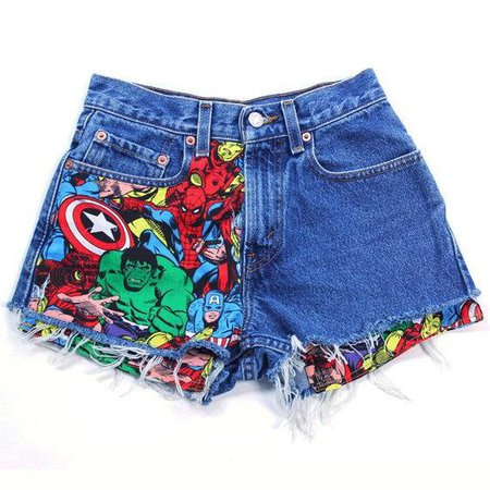 Marvel Comic Jean Shorts