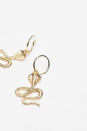 Snake It Happen Drop Hoop Earrings   Nasty Gal