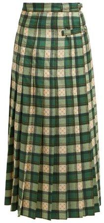 Gg Tartan Wool Maxi Skirt - Womens - Green Multi