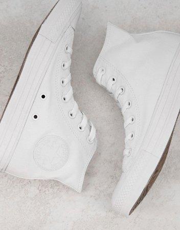 Converse Chuck Taylor All Star Hi canvas sneakers in white mono   ASOS