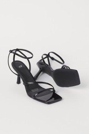 Patent Strappy Sandals - Black - Ladies   H&M US