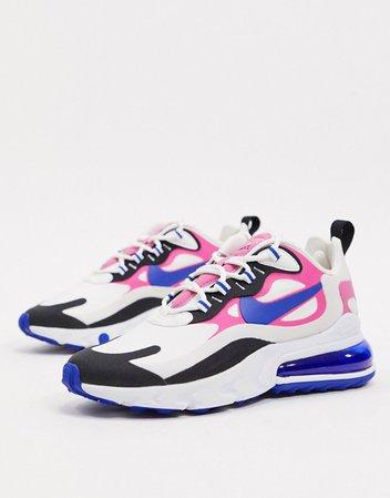 Nike Air Max 270 React white pink and black sneakers | ASOS