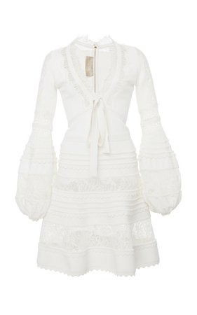 Lace Panel Crepe De Chine Long Sleeve Dress by Elie Saab