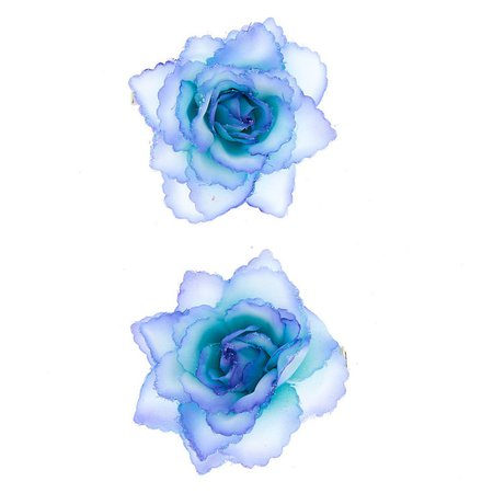 Glitter Flower Hair Clips - 2 Pack, Blue | Claire's US