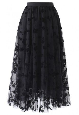 3D Posy Double-Layered Mesh Midi Skirt in Black - NEW ARRIVALS - Retro, Indie and Unique Fashion