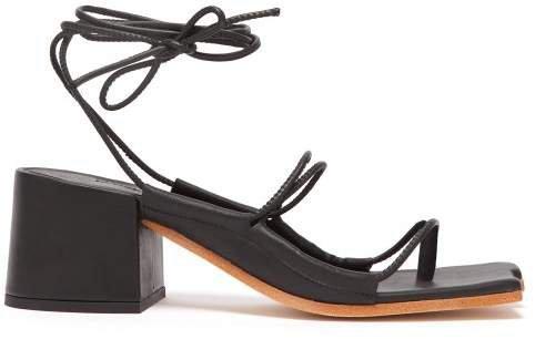 Marques'almeida - Wraparound Ankle Strap Block Heel Sandals - Womens - Black