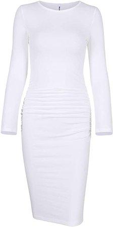 Missufe Women's Long Sleeve Ruched Casual Sundress Midi Bodycon Sheath Dress (White, Medium) at Amazon Women's Clothing store