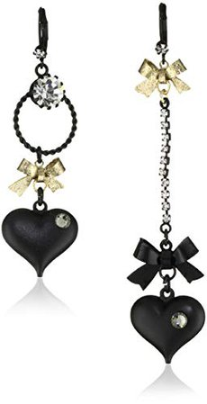 Betsey Johnson Mismatch Black Bubble Heart and Gold Bow Drop Earrings: Jewelry