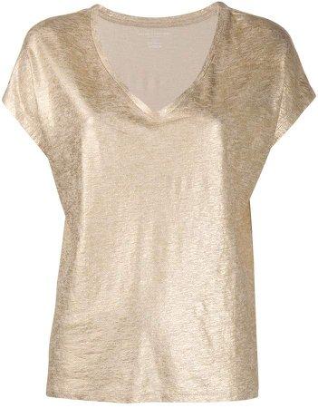 metallic v-neck T-shirt