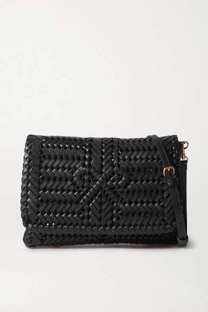 Neeson Woven Leather Shoulder Bag - Black