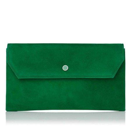 Dora Green Suede Clutch Bag | Handbags | L.K.Bennett