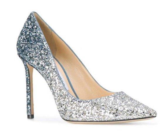 silver heels with rhinestones