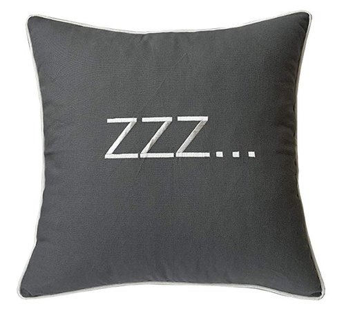 """Amazon.com: DecorHouzz Sleep Sentiment Ivory Embroidered Pillow Cover Cushion Cover Pillow Cases Throw Pillow Decorative Pillow Wedding Birthday Anniversary Gift 12""""x20"""" (Grey): Home & Kitchen"""