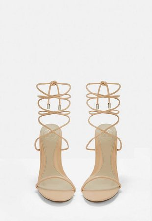 Nude Skinny Strap Wrap Sandal Heels   Missguided