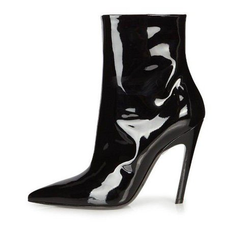 Cat Woman Stiletto Boots Patent Leather Pointy Toe Booties for Big day, Going out | FSJ
