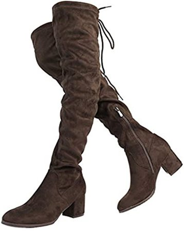DREAM PAIRS Women's Laurence Black Over The Knee Thigh High Chunky Heel Boots Size 9.5 M US: Shoes