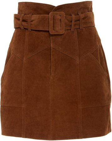 Claire Belted Suede Mini Skirt Size: 0