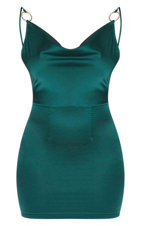 Emerald Green Satin Cowl Bodycon Dress | PrettyLittleThing USA