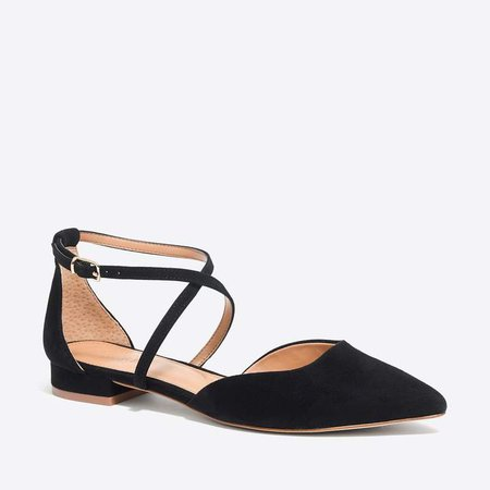 Strappy pointy-toe flats in suede